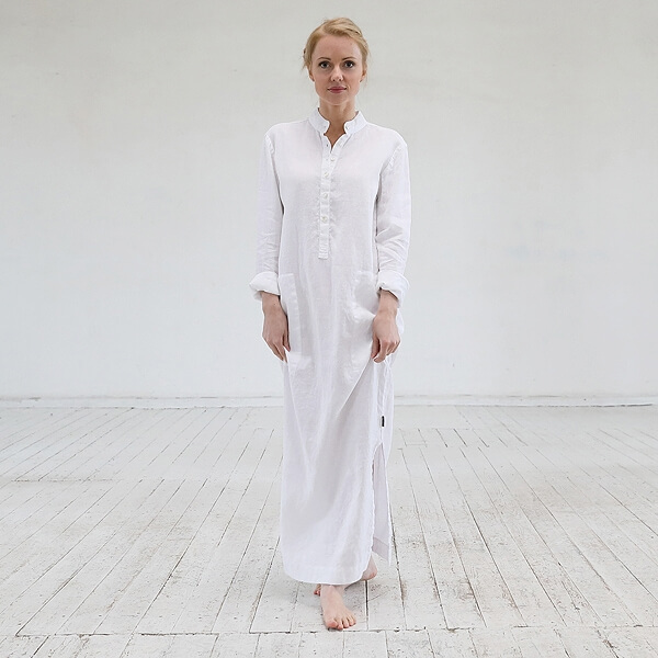 White Lin Robe Dona - LinenMe