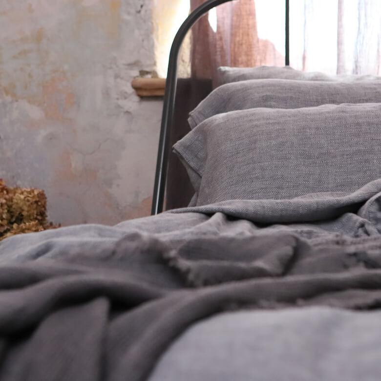 Grey Herringbone - Linge de Lit - LinenMe