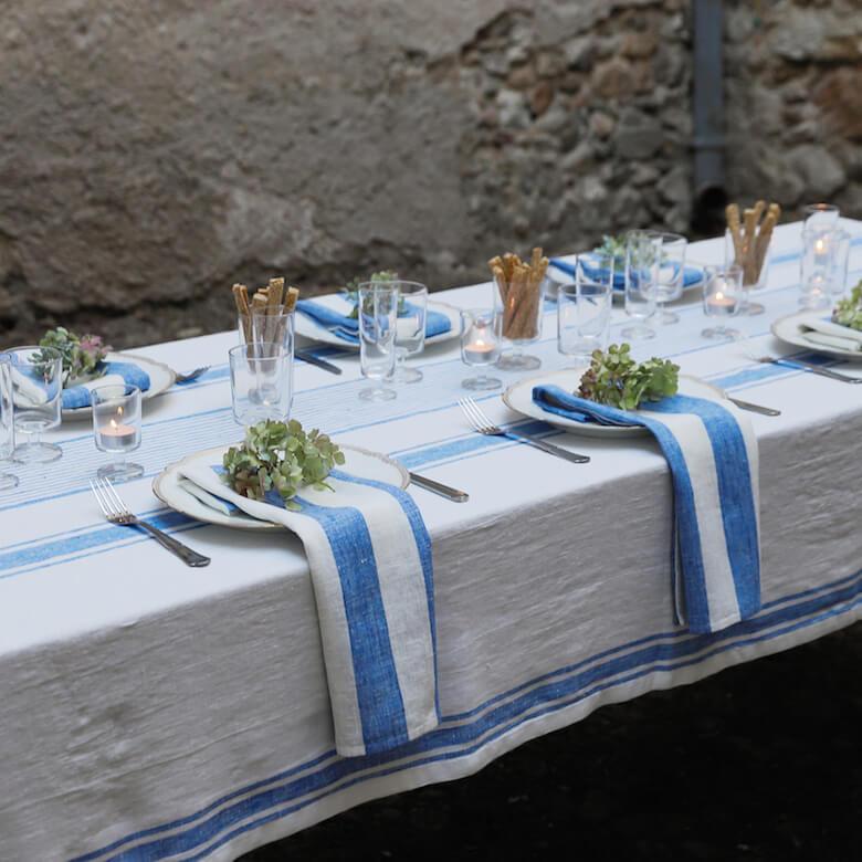 Nappe Provence en lin bleu