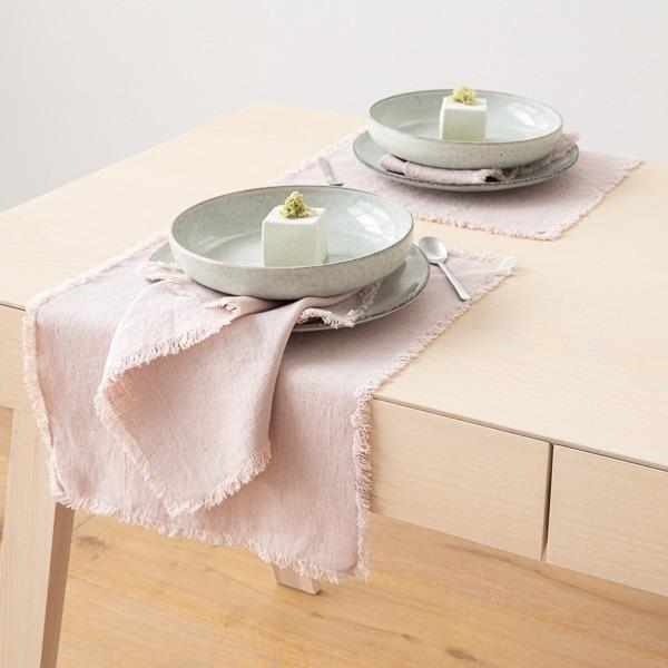 Set de table Terra avec franges faites main, Latté