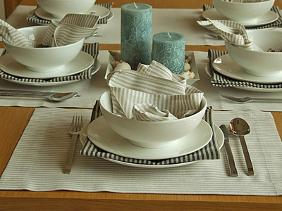 Serviettes de table Jazz beiges et noires & Set de table Beige