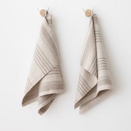 Ensemble de 2 serviettes à main et pour les invités Linum en lin naturel