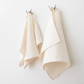 Lot de 2 serviettes de toilette en lin lavé Lara Crème