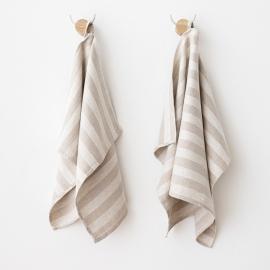 Lot de 2 serviettes pour les mains et les invités en lin rayé Naturel Lucas