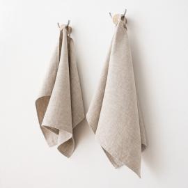 Lot de 2 essuie-mains en sergé de lin beige Twill