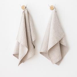 Lot de 2 serviettes d'invité en lin naturel en coton Wafer