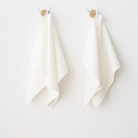 "Drap de bain ou de douche en métis linb/cotton nid d'abeille ""Wafer"" off white"