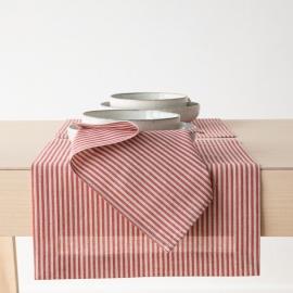 Set de table Jazz en coton et lin rouge