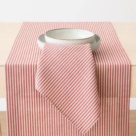 Chemin de table Jazz en lin et coton rouge