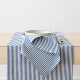 Serviette de table en lin et coton Jazz à rayures bleues