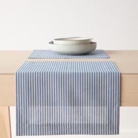 Set de table en lin et coton Jazz à rayures bleues
