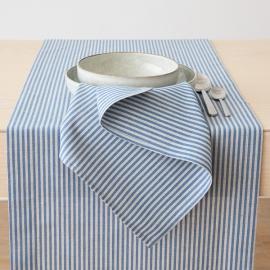 Chemin de table Jazz en lin et coton Blue