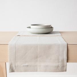 Set de table en lin et coton Jazz à rayures beiges