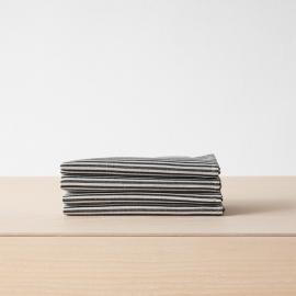 Serviette de table en lin et coton Jazz à rayures noires