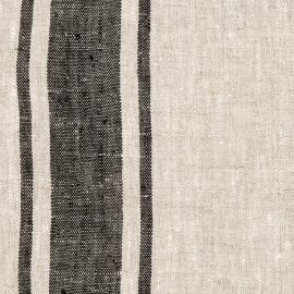 Toile de lin naturel Provence coloris Noir prélavée