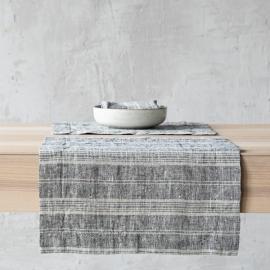 Set de table en lin noir avec rayures