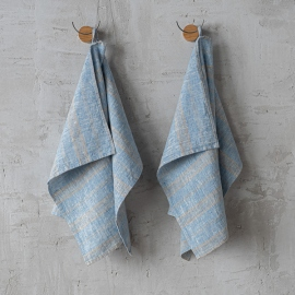 Lot de 2 Bleu Naturel Serviettes Pour Les Mains en Lin Multistripe