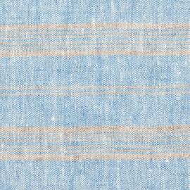 Toile de lin bleu à rayures multiples