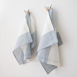 Ensemble de 2 torchons Florence en lin et coton bleus Cinque