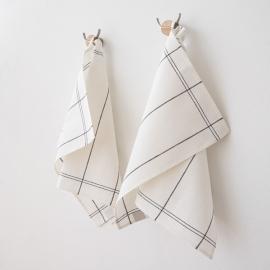 Ensemble de 2 torchons Florence en lin et coton Graphite Uno