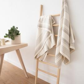 Serviette de douche ou drap de bain 100% lin Lavé Linum Cream