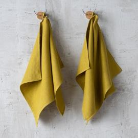 Lot de 2 serviettes de toilette en lin lavé Lara Citron