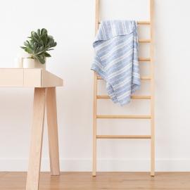 Serviettes de Bain en Lin Bleu Blanc Multistripe