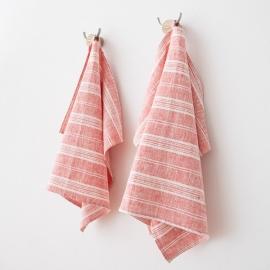 Lot de 2 serviettes de toilette rayées 100% lin Lavé