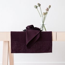 Chemin de table en lin Lara coloris Aubergine
