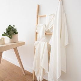 Ensemble de serviettes de bain en lin à rayures blanches Lucas