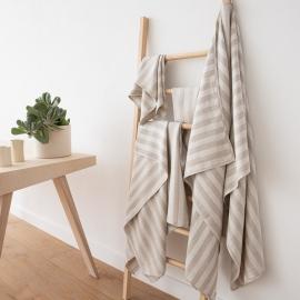 Ensemble de serviettes de bain Lucas en lin à rayures Naturelles