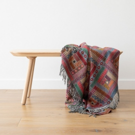Plaid en laine Mérinos Marta Red / Green