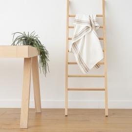 Blanc Gris Serviettes de Bain en Lin Tuscany