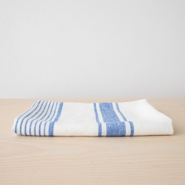 Drap de bain 100% lin Lavé Tuscany off white/blue