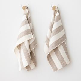 Lot de 2 Blanc Gris Serviettes de toilette Lin Philippe