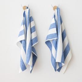 Lot de 2 Blanc Bleu Serviettes Pour Les Mains en Lin Philippe