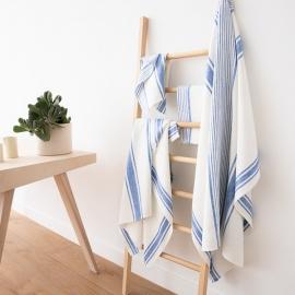 Blanc Bleu Serviettes de Plage en Lin Tuscany