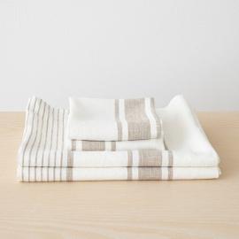 Blanc Gris Serviettes de Plage en Lin Tuscany