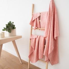 Ensemble de serviette de bain, de douche et de toilette 100% lin Lavé Fransesca red