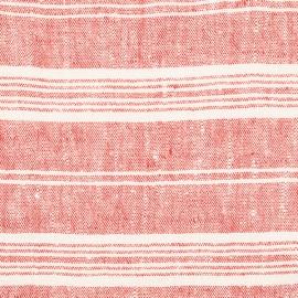 Toile de lin rouge à rayures multiples
