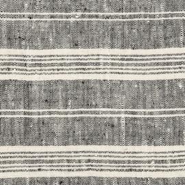 Toile de lin noir à rayures multiples