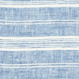 Tissu en lin Bleu Multi-Rayures Prélavé
