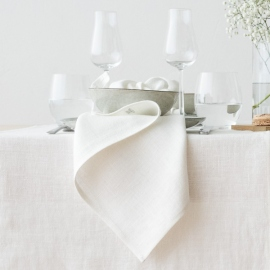 Rainbow Multicolour Linen Tablecloth Natural
