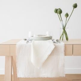 Chemin de table en lin Rustic coloris blanc