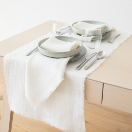 Chemin de table en lin Rustic coloris blanc