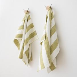Lot de 2 serviettes de toilette en lin pur prélavé Philippe Green