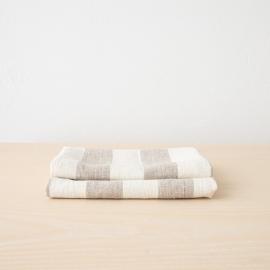 Lot de 2 serviettes de toilette ou d'invités 100% lin Lavé Philippe Natural