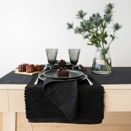 Set de Table en Lin Terra Tissé Main Black