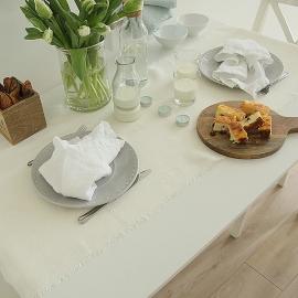 Serviette de table en lin effet délavé Optical White