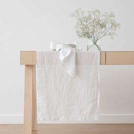 Chemin de table en lin, effet délavé Blanc optique